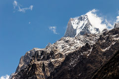 Peak of Mount Machapuchare or popularly known as Fish Tail as viewed from Bamboo village, Nepal Stock Image