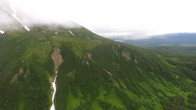 The peak of the mountain in a fog stock footage