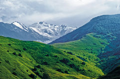 The peak of the mountain Kazbek. Stock Photo