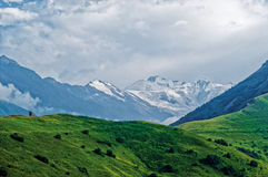 The peak of the mountain Kazbek. Royalty Free Stock Images
