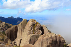 Peak mountain prateleiras  in Itatiaia National Park, Brazil. Peak mountain prateleiras sky clouds in Itatiaia National Park, Rio de Janeiro, Minas Gerais Royalty Free Stock Photo