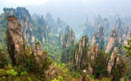 Peak of mountains. The peak of mountains in the spring at zhangjiajie Hunan Royalty Free Stock Photography