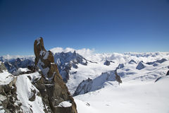 Peak and observation point Rebuffat at the mountain top station of the Aiguille du Midi in French Alps Stock Images