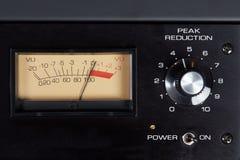 Peak reduction audio hardware with analog VU meter Stock Photos