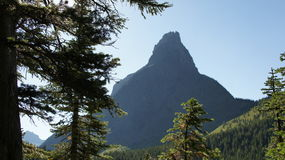 A peak rises above the forest in Glacier National Park. Royalty Free Stock Photography