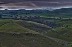 Peak Road. Capture from hot air baloon. Peak District, near Bakewell town Royalty Free Stock Photos