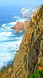 Peak cliff on the sea Cabo de Roca Portugal. Stunning view of the coastline in the westernmost part of Europe, Cabo de Roca Portugal royalty free stock photography