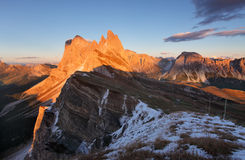 Peak Seceda hills of Odle group at Val Gardena Dolomites Italy Stock Photography