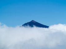 Peak of Teide in clouds Royalty Free Stock Images