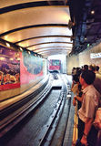 Peak tram approaching station, Hong Kong Royalty Free Stock Photography