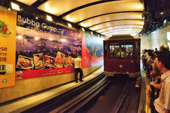 Peak tram approaching station, Hong Kong Stock Images