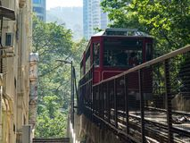 The peak tram rides to the viewing platform at Victoria Peak stock images