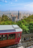 Peak tram Victoria Peak. Peak tram in the Victoria Peak, Hong Kong royalty free stock photography