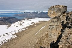 The peak of Trollsteinen above Isfjorden Royalty Free Stock Images