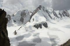 Peak Uzbekistan 5100 m over Dugoba glacier from Aktash saddle, Pamir-alay Royalty Free Stock Photos