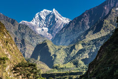 Peak and valley. View from the trekking at Annapurnas circuit, Himalaya, Nepal Royalty Free Stock Photos