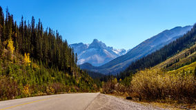 Peak visible from the road to the Takakkaw Falls in Yoho National Park Stock Photo