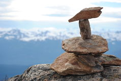 Peak of Whistler, BC. Stones on the peak of Whistler blackcomb Stock Image