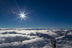 At the peak of Zugspitze, Germany. View from the peak of Zugspitze, Germany Stock Photo