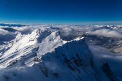 At the peak of Zugspitze, Germany. View from the peak of Zugspitze, Germany Royalty Free Stock Photo