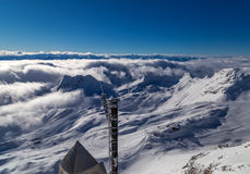 At the peak of Zugspitze, Germany. View from the peak of Zugspitze, Germany Royalty Free Stock Image