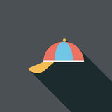 Peaked cap flat icon with long shadow. Cartoon vector illustration royalty free illustration