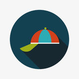 Peaked cap flat icon with long shadow. Vector illustration file stock illustration