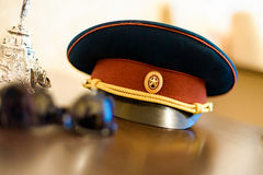 Peaked cap of russian officer Royalty Free Stock Image