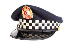 Peaked cap of the Spanish policeman Royalty Free Stock Images