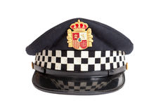Peaked cap of the Spanish policeman Royalty Free Stock Photo