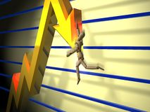 Peaking chart 2. A mannequin style person falling off the point of a falling line chart stock illustration