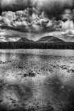 The Peaks Above the Water HDR BW Royalty Free Stock Photo