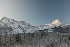 Peaks of the Almtal in Upper Austria during wintertime. The Almtal in the Upper Austrian Alps is one of the most beautiful places to be in winter. Deep snow, a Royalty Free Stock Photos
