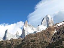 Peaks along Rio Electrico,El Chalten,Argentina. Closeup of Peaks along Rio Electrico,El Chalten,Argentina royalty free stock photography