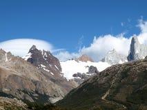 Peaks along Rio Electrico,El Chalten,Argentina. Peaks under blue sky along Rio Electrico,El Chalten,Argentina stock photos