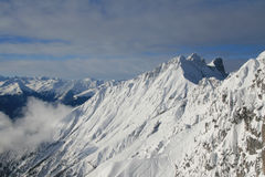 Peaks in Alps. Mountain ridge at Innsbruck , Austria Royalty Free Stock Image