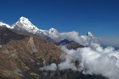 Peaks of Annapurna South, Hiun Chuli and Machapuchare Royalty Free Stock Images