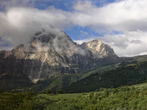 Peaks of the Apennines. The mountain peaks hide in the clouds Stock Image
