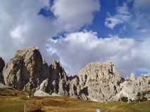 Peaks of Cir mountain. A lamdscape of the peaks of Cir mountain in passo Gardena Stock Images