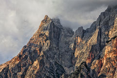 Peaks and Clouds in Dolomites Mountains. High altitude peaks and clouds in Dolomites Mountains in Italy Royalty Free Stock Image
