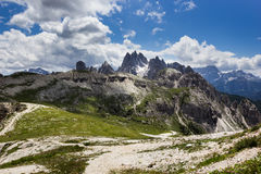 Peaks of the Dolomites of Veneto, Italy. Veneto Dolomites seen from the Tre Cime di Lavaredo, Italy royalty free stock photo