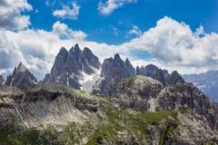 Peaks of the Dolomites of Veneto, Italy. Veneto Dolomites seen from the Tre Cime di Lavaredo, Italy royalty free stock photography