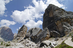 Peaks of five towers. (Dolomites, north Italy Royalty Free Stock Photo