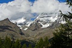 Peaks Fletschhorn and Lagginhorn Royalty Free Stock Photos
