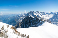 Peaks of the French Alps. Montblanc mountain in summer, full of snow Stock Photography