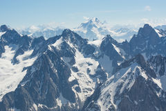 Peaks of the French Alps. Montblanc mountain in summer, full of snow Royalty Free Stock Photography