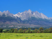 Peaks of High Tatras and meadow. Summer view portraying meadow and High Tatra mountain range with famous Lomnicky peak (alt. 2634 meters) seen in distance. High Royalty Free Stock Photo