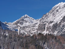 Peaks of High Tatras and Ski jump Royalty Free Stock Photo