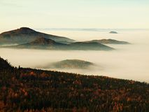 Peaks of hills and trees are sticking out from yellow and orange waves of mist. Royalty Free Stock Photos