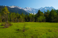 The Peaks of the Hotakas from TASHIRO Wetland Royalty Free Stock Photography